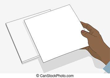 vide, illustration., tient, vecteur, paper., main, feuille, close-up., conception, plat