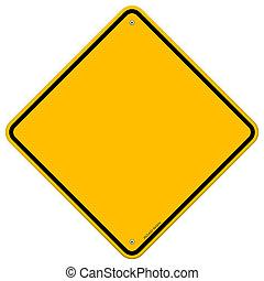 vide, isolé, signe jaune