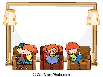 vide, livre, séance, beaucoup, bannière, sofa, gosses, lecture