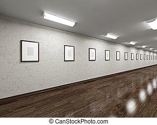 vide, long, galerie, images