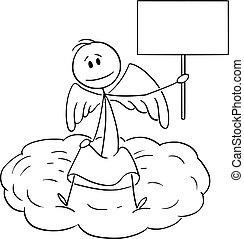 vide, nuage, vecteur, illustration, dessin animé, tenue, séance, signe, ange