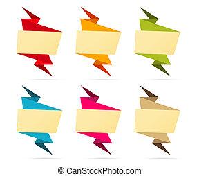 vide, origami, ensemble, étiquette