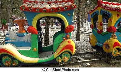 vide, parc, hiver, amusement