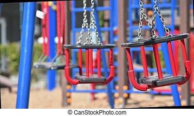 vide, secteur, mouvement, balance, enfants, résidentiel, lent, cour de récréation