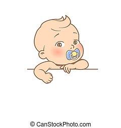 vide, sourire, mains, bébé, texte, mignon, élément, peu