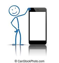 vide, stickman, smartphone
