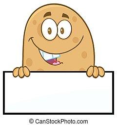 vide, sur, signe, sourire, pomme terre