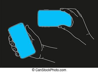 vide, tenant main, écran, smartphone, moderne