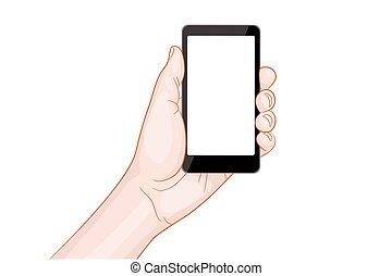 vide, tenant main, smartphone, écran