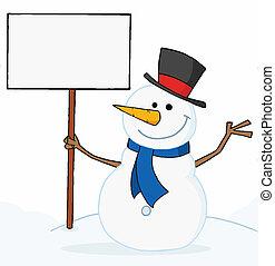 vide, tenue, signe, bonhomme de neige