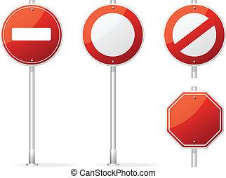 vide, vecteur, trafic, rouges, signe