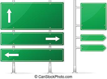 vide, vecteur, vert, panneaux signalisations