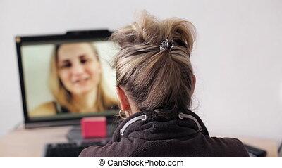 videocall, femme, avoir