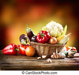 vie, art, légumes, sain, organique, conception, encore