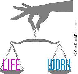 vie, balances, travail, main, personne, équilibre