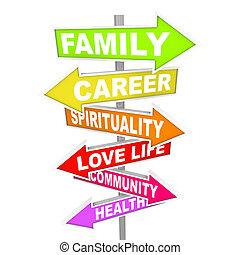 vie, choses, -, priorities, important, flèche, signes, équilibre