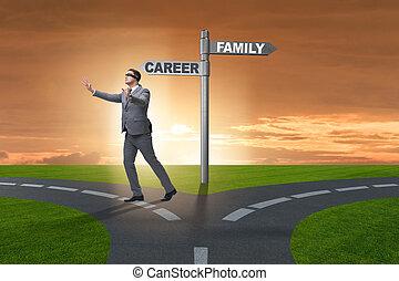 vie, concept, business, travail, maison, équilibre, ou