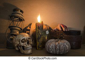 vie, crâne, vieux, lampe, bougie, encore, citrouille