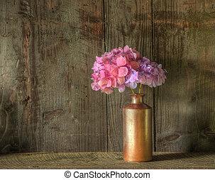 vie, encore, a mûri, bois, image, contre, vase, rustique, séché, fond, fleurs
