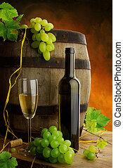 vie, encore, baril, raisins, vin