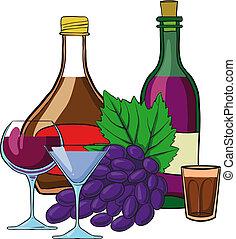 vie, encore, bouteilles, vin