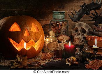 vie, encore, halloween, potirons