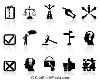 vie, ensemble, décisions, icônes