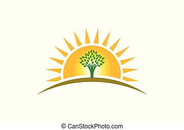 vie, famille, gens, trois personnes, soleil, logo., arbre, fort