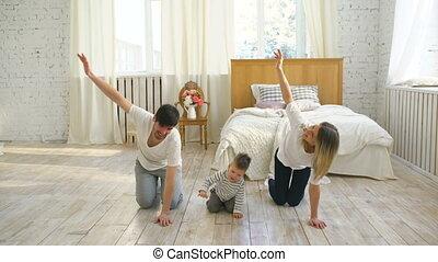 vie, famille, gymnastique, sain, -, chambre à coucher, exercices, maison, education