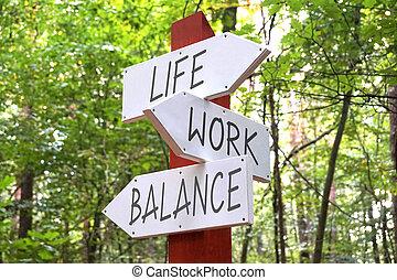 vie, -, flèches, trois, poteau indicateur, équilibre, concept, travail