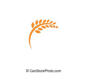 vie, gabarit, logo, icône, vecteur, sain, blé, agriculture