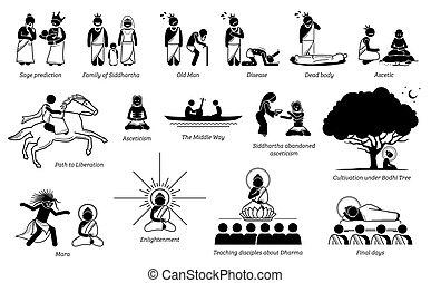 vie, histoire, crosse, bouddha, figure, gautama, icons.