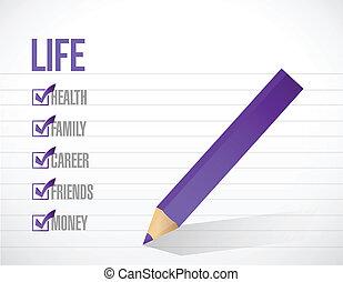 vie, liste, illustration, marque, conception, chèque