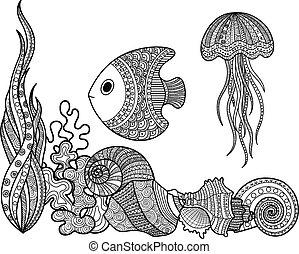 vie marine, ensemble, fish