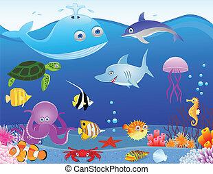 vie, mer, dessin animé, fond