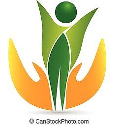 vie, santé, logo, icône, vecteur, soin