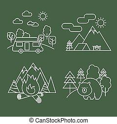 vie sauvage, linéaire, forêt, parc, ours, vecteur, icons., activité, ligne, paysage, mince