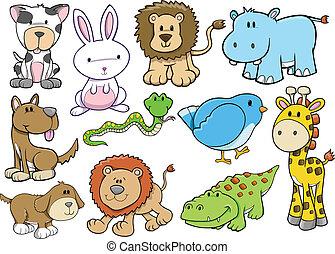vie sauvage, vecteur, ensemble, animal, safari