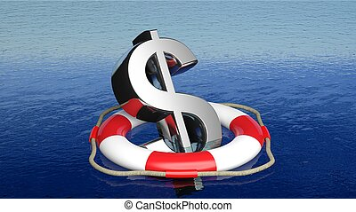 vie, signe dollar, mer, ouvert, ceinture