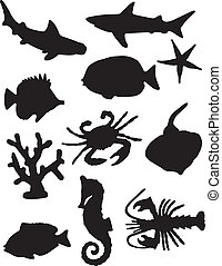 vie, silhouettes, mer