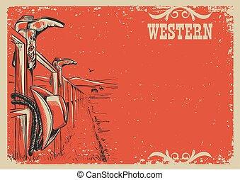 vie, texte, illustration, vecteur, fond, cowboy's