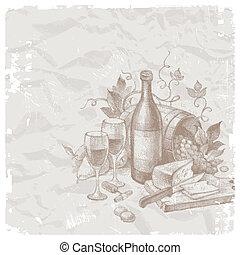 vie, vendange, nourritures, vecteur, encore, vin