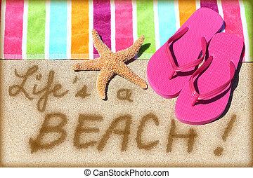vie, voyage, -, signe, amusement, plage