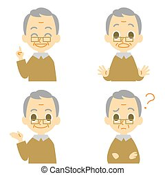 vieil homme, surpris, confondre, parler