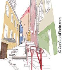 vieille ville, étroit, coloré, croquis, rue