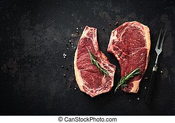 vieilli, boeuf), poivre, boeuf cru, sec, de, romarin, sel, biftecks, (cote, deux, côte