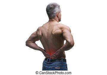 vieilli, coup, corps, douleur, dos, musculaire, isolé, milieu, studio, fond, blanc mâle, homme