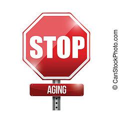 vieillissement, arrêt, illustration, signe, conception, route