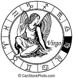 vierge, zodiaque, noir, blanc