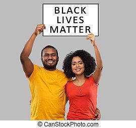 vies, matière, bannière, couple, noir, africaine